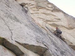 Rock Climbing Photo: Abel getting into the offwidth of Arms Race.