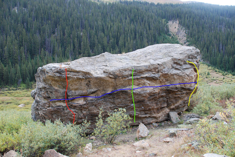 Rock Climbing Photo: Red =V1 Blue = V3 Green = V2 Yellow = V0