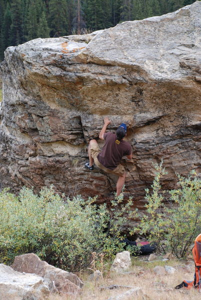 Just before the crux deadpoint.