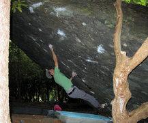 "Rock Climbing Photo: Aaron Parlier past 45 on ""Athena"" (v7) o..."