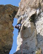 Rock Climbing Photo: Nate with JHMG heading out the 5.10 variation pitc...