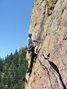 Rock Climbing Photo: Kevin Presley leading the classic pitch 4 traverse...
