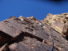 Rock Climbing Photo: Maurice Horn leading the second pitch, working his...