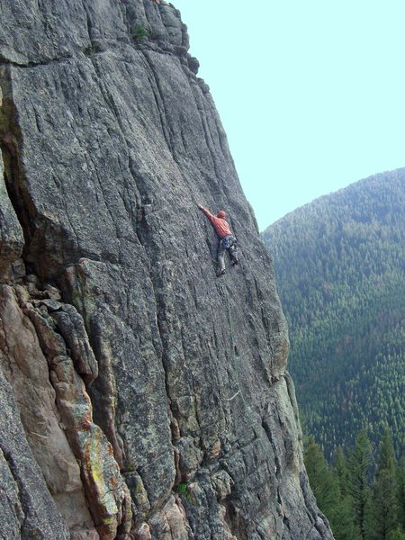 Pat going ground-up on the upper headwall. Photo by Ty Gittins.