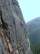 Rock Climbing Photo: Pat going ground-up on the upper headwall. Photo b...