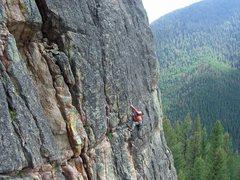Rock Climbing Photo: Pat on the cruxy horizontal traverse. Photo by Ty ...