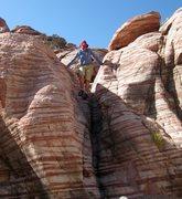 Rock Climbing Photo: Holly loving the natural slides at Kraft Mt.  9/7/...