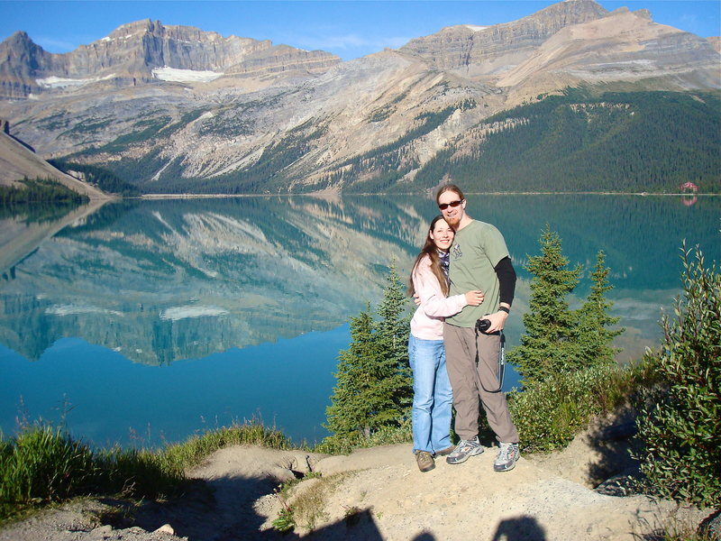 The wife and I at Bow lake.