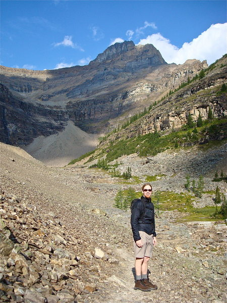Hiking above lake agnes in Banff Nat'l Park.