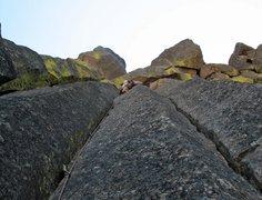 Rock Climbing Photo: Trevor leading through the crux on the FA.