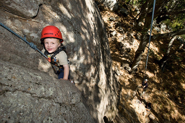 Bryson, age 2-1/2 years, enjoys the excellent climbing on the Cracked Wall at Bishops Peak.