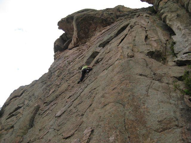 Kristie climbing clean edges on superb granite (grade~5.8).