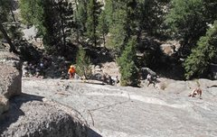 Rock Climbing Photo: Looking down from the bolts on the middle route, w...