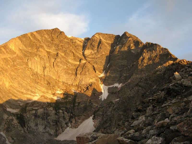Sunrise view of the upper cirque, Blitzen on the right, Donner on the left, and the late season Y Couloir central.