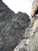 Rock Climbing Photo: Keen traversing around the Fourth Ace.