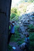 Rock Climbing Photo: working a problem in the armpit area