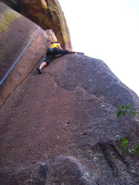 Rock Climbing Photo: Brooke pulling onto the slab. Is this offroute? I ...