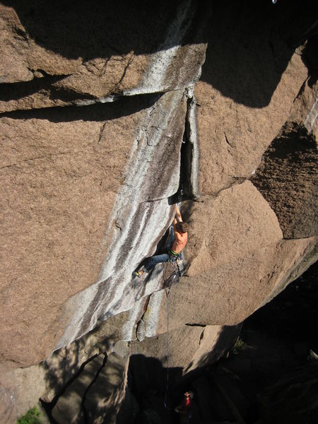 Rock Climbing Photo: Attempting La Zebree (5.14a) at Mont King, Quebec....