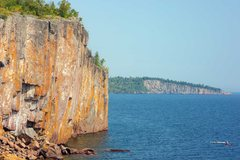 Rock Climbing Photo: Climbing at Palisade Head with Shovel Point in the...
