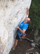Rock Climbing Photo: Pumpy, thin, sharp pockets above the bulge.