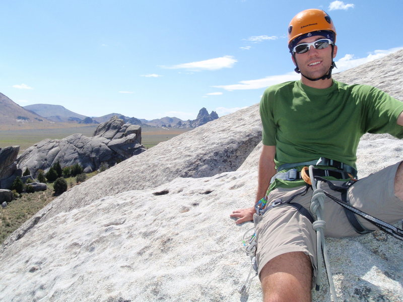 Me at the top of Columbian Crack (5.7) @ Elephant Rock.