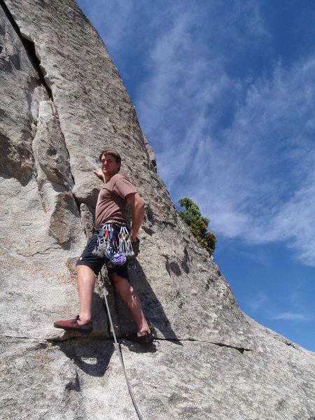 Rock Climbing Photo: Chad leading Rye Crisp (5.8) @ Elephant Rock.