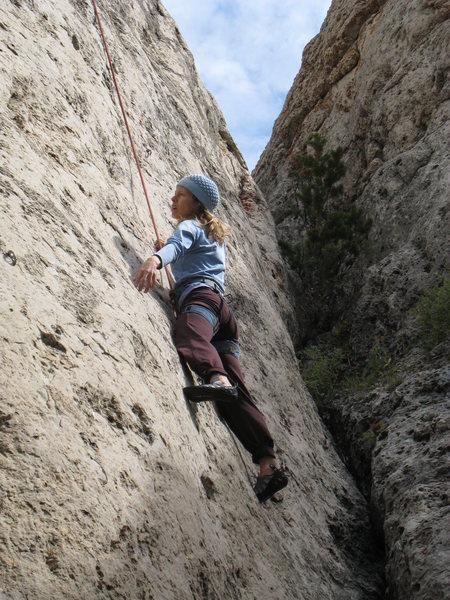 "Rock Climbing Photo: Enjoying ""Wild Horses"", 5.11b, on the Wi..."