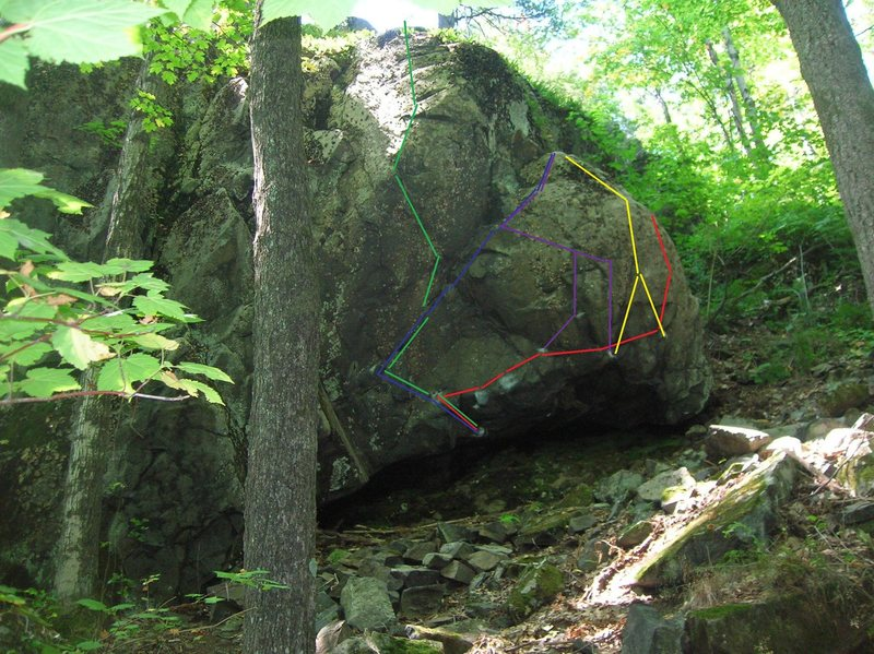 Gives a view of some of the lines on this boulder