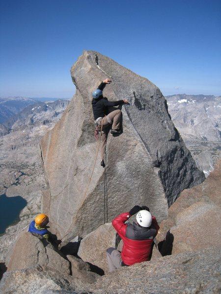 Rock Climbing Photo: Cory leading the summit block on Thunderbolt Peak