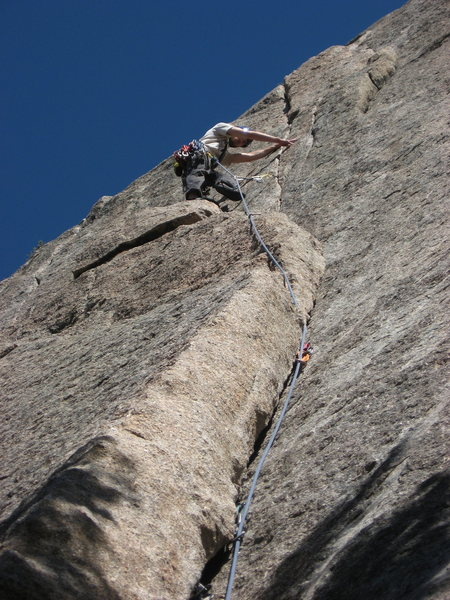 Rock Climbing Photo: C. Treiber on pitch 1.  Nice gear!