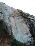 Rock Climbing Photo: Animation Wall with lines: PVUSS (red) and Suspend...
