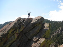Rock Climbing Photo: On the summit! My first lead (very short and only ...