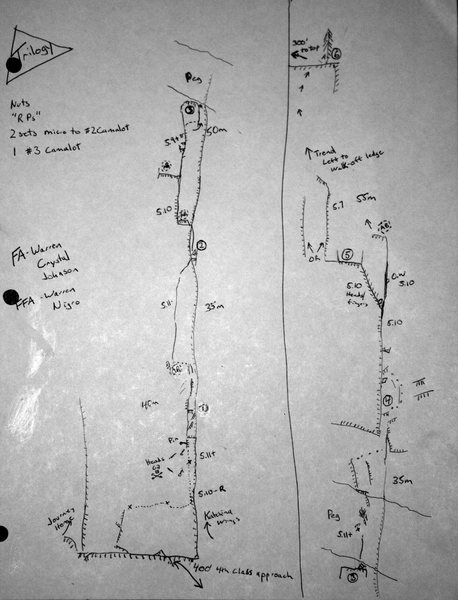"""Topo for Trilogy. Circled belays are what I used. """"AB"""" are alternate belay stances."""