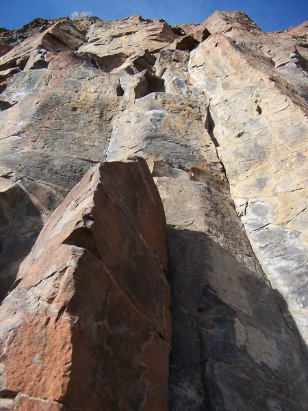 Rock Climbing Photo: High Five 5.8 - make the first clip from the top o...
