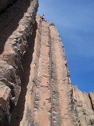 Rock Climbing Photo: natalie at the top of Air Guitar 10a