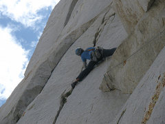 Rock Climbing Photo: Me stemming hard on P4