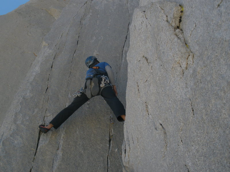 Rock Climbing Photo: Scott starting out P6. The gear here is pretty thi...