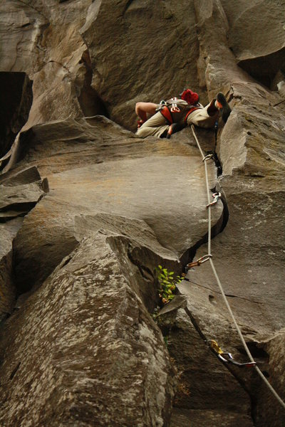 Rock Climbing Photo: Derrick Peppers just past the crux of loose block ...
