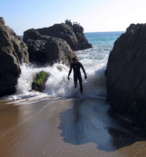 Rock Climbing Photo: Jonny, rocks, and water.  Point Mugu 9/8/09
