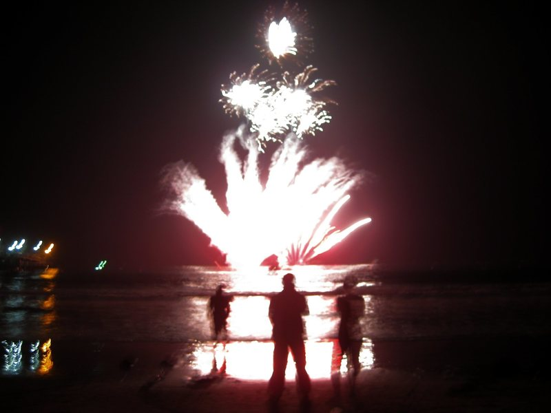 The incredible fireworks show at the Santa Monica Pier Centennial Celebration. Watched from the beach; the fireworks fired up from the barges.<br> <br> 9/9/09