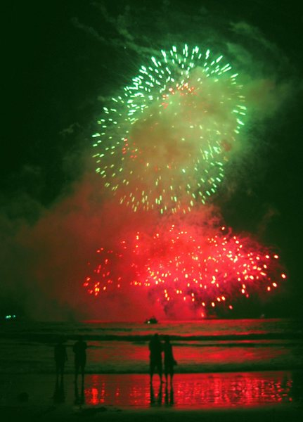 Rock Climbing Photo: Santa Monica Centennial Celebration fireworks show...