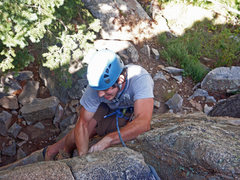 Rock Climbing Photo: Working the crux of the Huston crack in Boulder Ca...