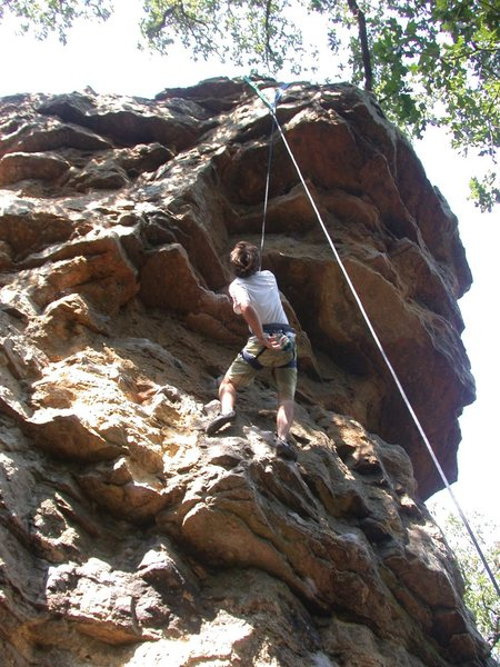 Rock Climbing Photo: Kyle looking at the finish of Peewee, Sept 2009