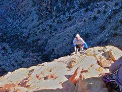 Rock Climbing Photo: Bill Hotz arriving on top.