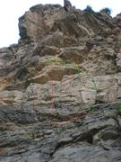 Rock Climbing Photo: Pitch 3 detail, including rap and tension traverse...