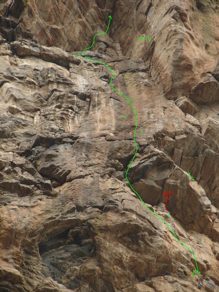 Pitch 4 detail, including Loft rap station, and rap-directional-bolt location relative to Kidney Killer Belay, and start of P5.