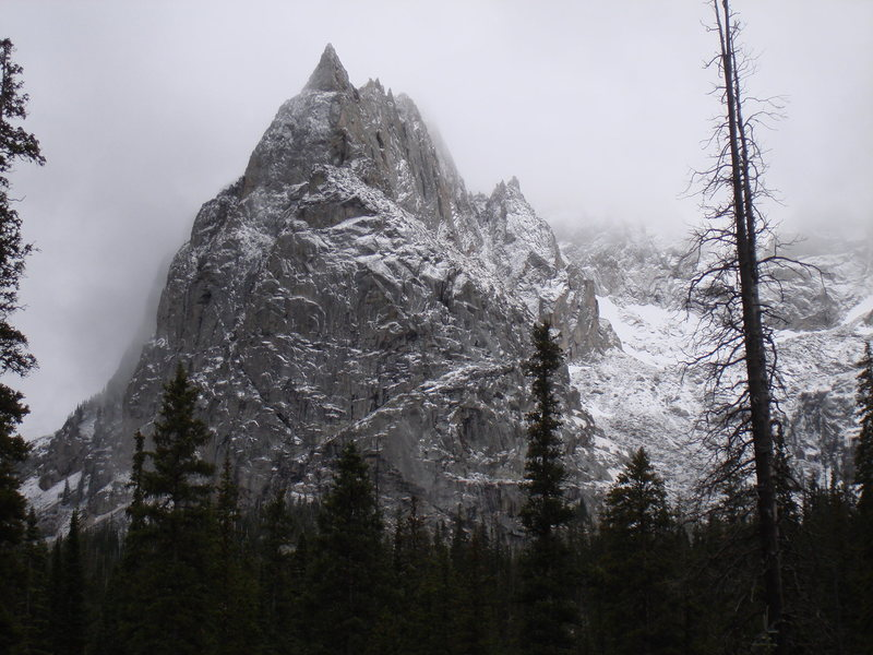 Lone Eagle Peak highlighted with an early snow fall on Oct. 5, 2008.