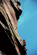 Rock Climbing Photo: Mike Kurilich heading up pitch 1 Genesis.