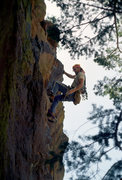 Rock Climbing Photo: Mark Sargent pulling the roof pitch 1, Yellow Spur...