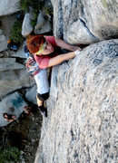 Rock Climbing Photo: Trying to pro up the last steep and wide crux of N...